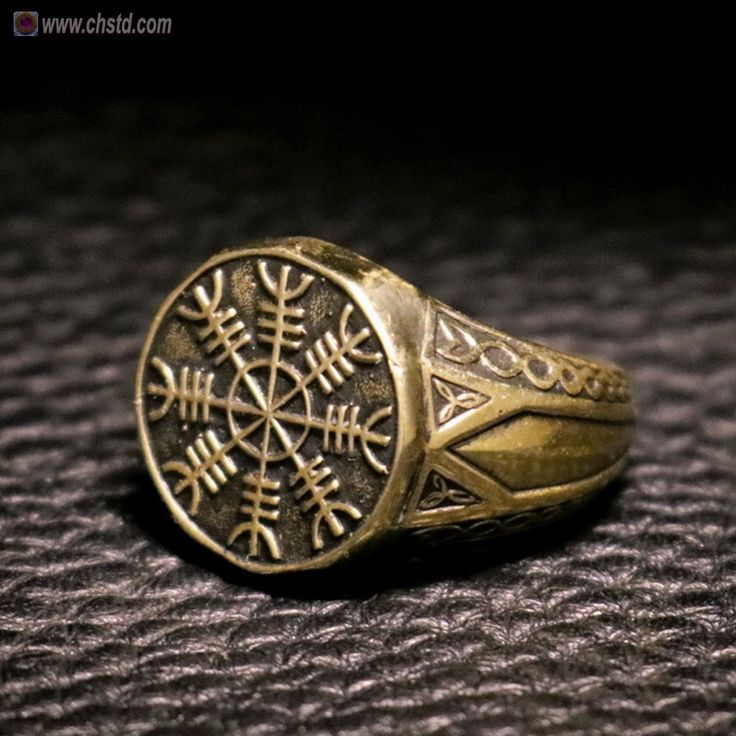 """Ring made of bronze. 100 % HANDMADE! Top grade. VIKINGS AMULET Ancient Nordic symbol """" Aegishjalmur """" Protect and Safe Amulet The Helm of..."""