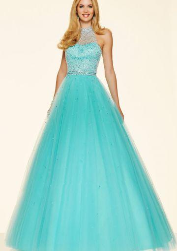 Cheap and Australia 2016 Jade Ball Gown Halter Neckline Sequins Organza Floor Length Evening Dress/ Prom Dresses 98096 from Dresses4Australia.com.au