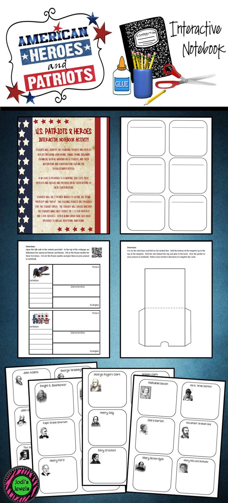 """Students will identify the founding fathers and Patriot heroes including John Adams, Samuel Adams, Benjamin Franklin, George Washington (& others), and their motivations and contributions during the Revolutionary period. A QR code is provided to a webpage that lists these patriots and heroes and provides brief descriptions of their contributions. Students will use 2 Frayer models to define the terms """"patriot"""" and """"hero"""". Two foldable pockets are provided for the student cards."""