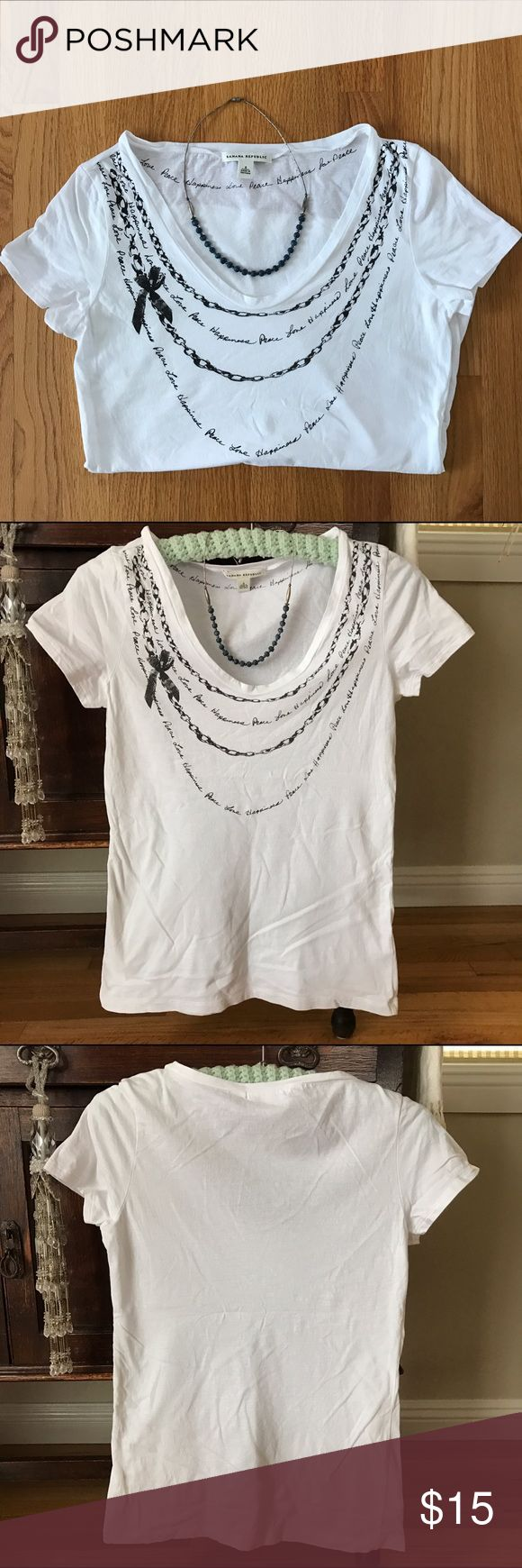 Banana Republic TShirt. Peace, Love , Happiness! Scooped neck Banana Republic TShirt. Size S. 100% cotton. Capped sleeves. Dress it up or layer with flannel. Super cute! Banana Republic Tops Tees - Short Sleeve