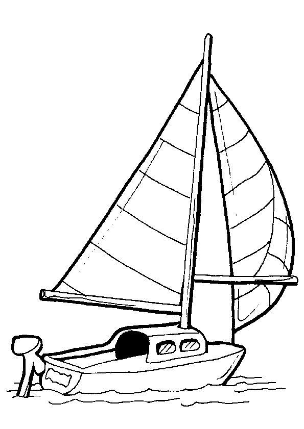 Un  voilier à moteur à colorier.