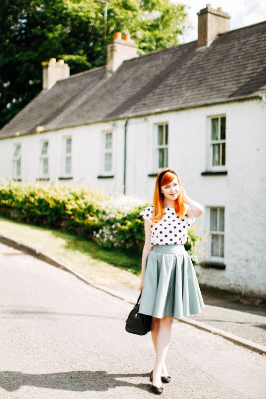 """high-waisted skirt & polka dots (from """"the clothes horse"""")"""