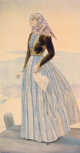 Festive woman's dress. From Spetsai (Aegean Islands). Clothing style: urban, early 20th century.