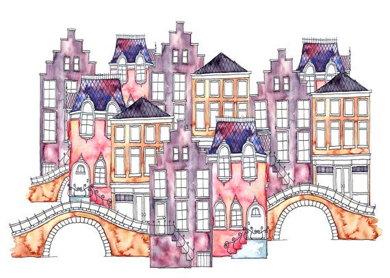 A3 Art Print Illustration Amsterdam 03 by IsaBellabyMargriet