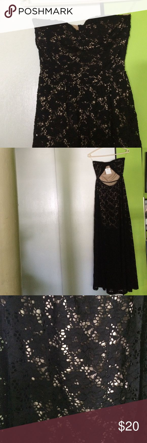 Throwbackthursday dramatic dress mona lucero fashion design - Strapless Lace Maxi Dress Black Lace Strapless Dress With Short Nude Underlay Open In Back