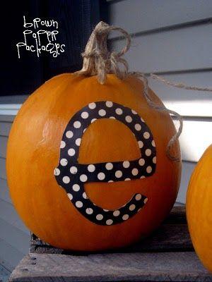 Monogrammed pumpkins: Idea, Fall Y All, Craft, Fall Decor, Monogrammed Pumpkins, Scrapbook Paper, Monogram Pumpkin