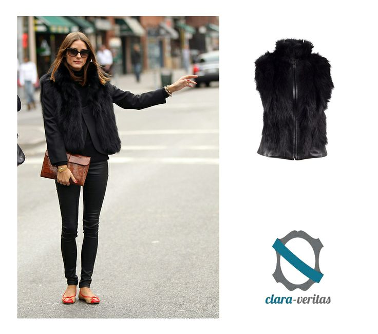 This furry  vest will warm you on cool days! See how Olivia Palermo wears it! :)