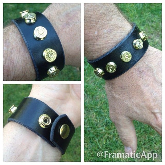 "45cal Leather Bracelets for sale! 1 1/4"" black leather fits med and large wrists. There are 5x available and the price is $30. Priority shipping included #selbyknives #45acp #45auto #mancuff #colt1911 #leatherbracelet #everydaycarry #brassammo"