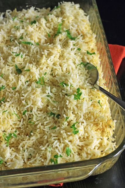 Baked Rice with Lemon and Thyme -- easy to prepare ahead, then add boiling water and slide in oven with meal.