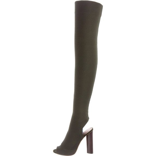 Pre-owned Yeezy Season 2 Thigh-High Boots (€895) ❤ liked on Polyvore featuring shoes, boots, green, over-knee boots, green over the knee boots, stacked heel boots, over the knee boots and green thigh high boots