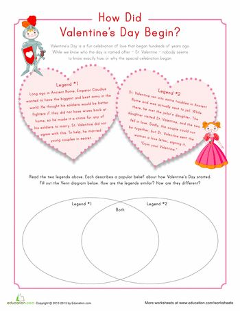Worksheets: Origin of Valentine's Day