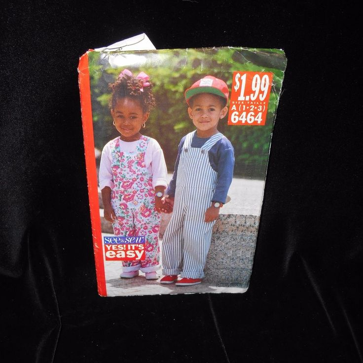 See & Sew 6464 Childrens Toddler Jumpsuit Overalls Tops Size 1 2 3 Boys Girls