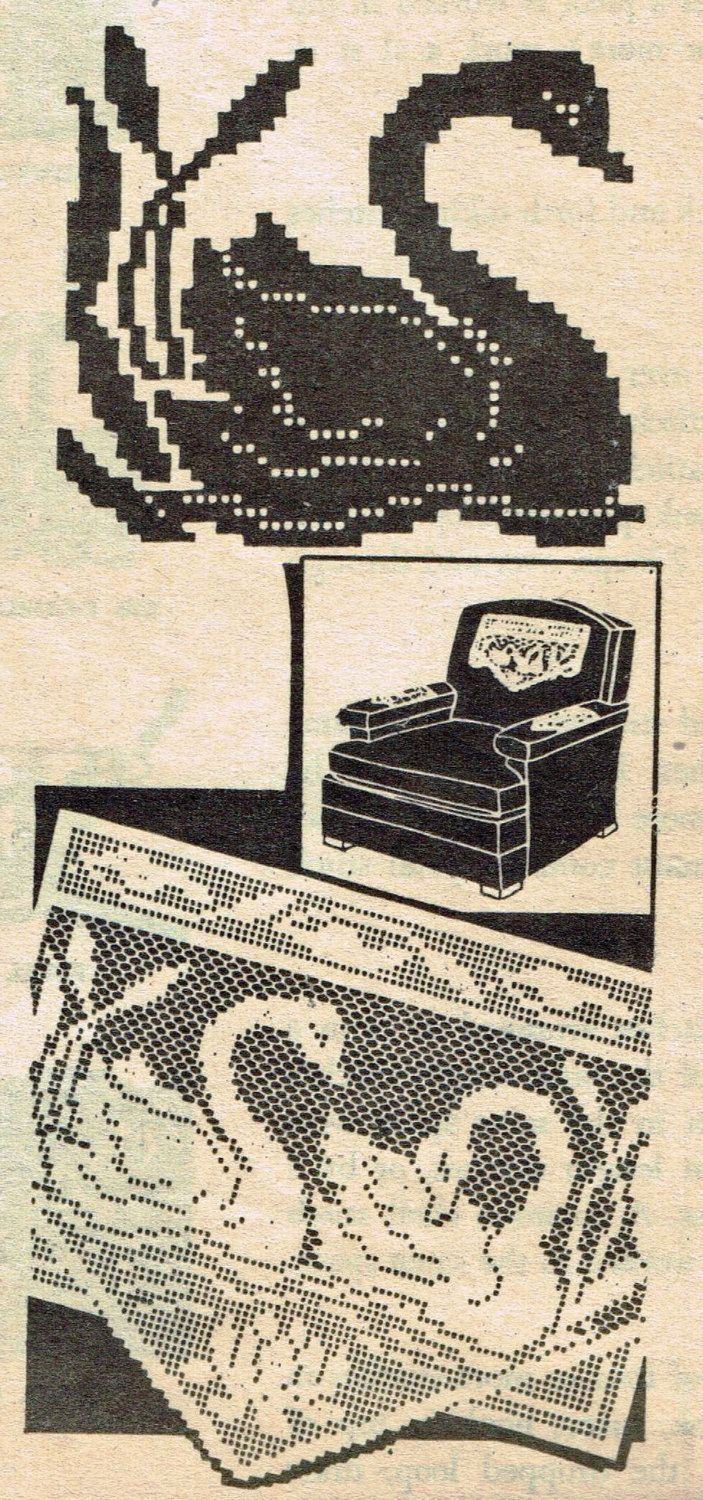 Old Crochet PATTERN 7320 Chair Set with Swans and by BlondiesSpot
