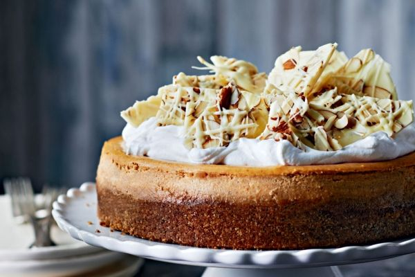 Pumpkin Cheesecake With White Chocolate Almond Bark
