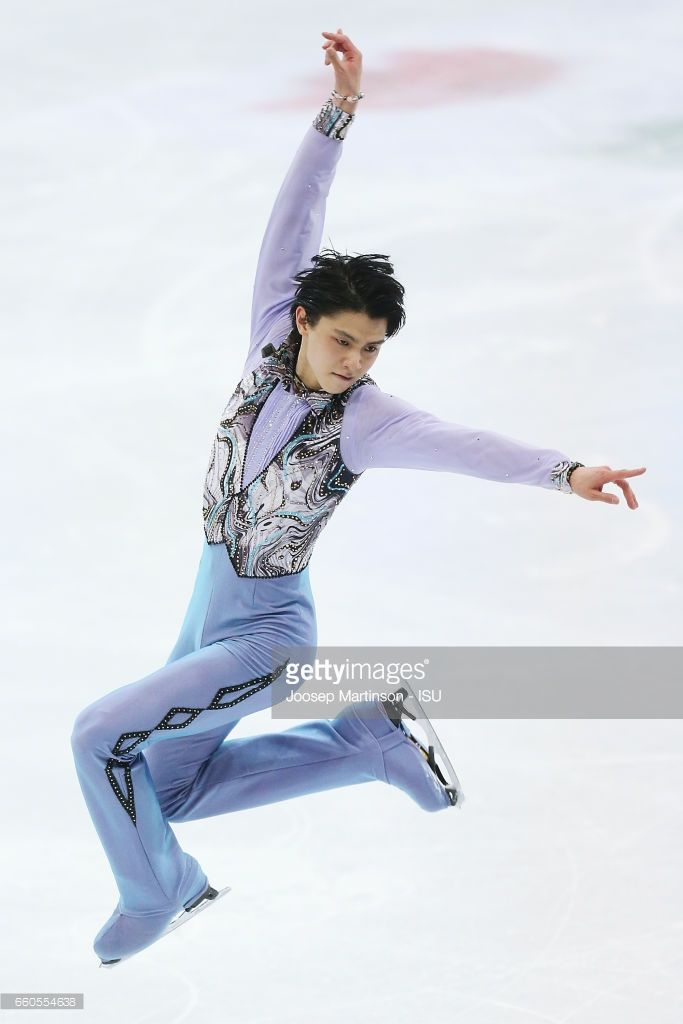 Yuzuru Hanyu of Japan competes in the Men's Short Program during day two of the World Figure Skating Championships at Hartwall Arena on March 30, 2017 in Helsinki, Finland.