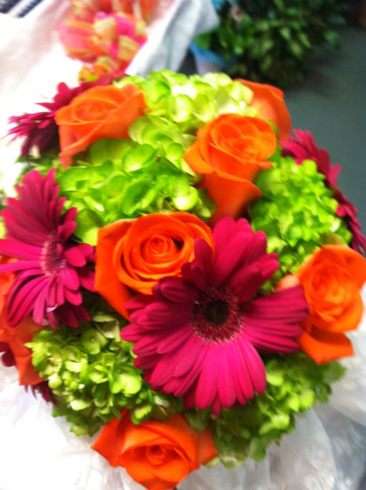 lime green orange and hot pink wedding bouquet by. Black Bedroom Furniture Sets. Home Design Ideas