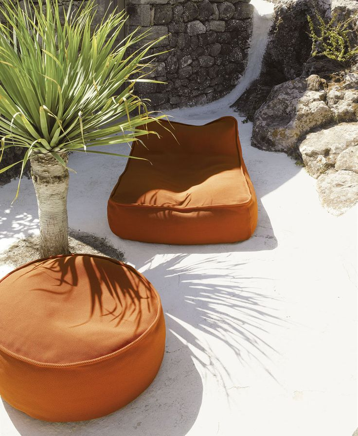 Paola Lenti   Easy Chair   Float   Pouf   Orange   Outdoor
