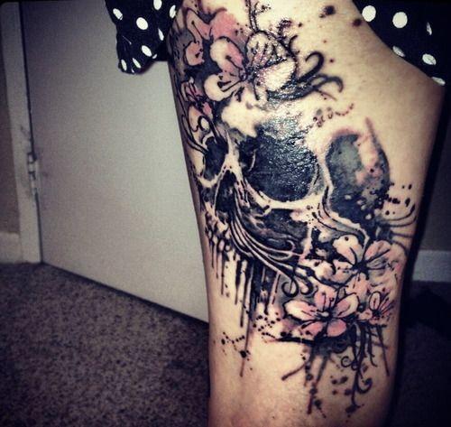 Free Tattoo Skull Design - flora skull tattoo for girl