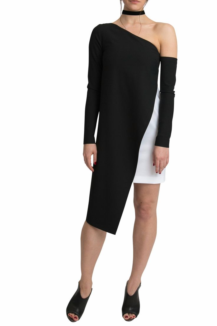 Ava Black and White Shift Dress