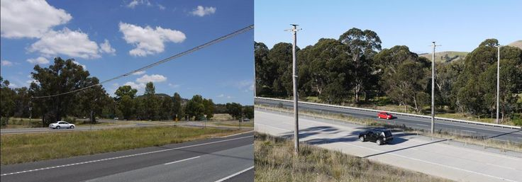 A rope bridge over the Hume Freeway in Victoria (left) and glider poles on the Hume Freeway in New South Wales (right)