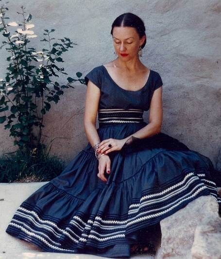 Lovely dark blue Martha of Taos Mexican inspired dress, early 50s. #vintage #1950s #fashion
