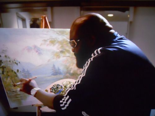 RAPPERS DOING NORMAL SHIT. Rick Ross is the Bob Ross in the game.: Things Rick, 25 Photo, Happy Trees, Bobs Ross, Biggest Jackpot, The Games, Ross Paintings, Rick Ross, Fucking Ross