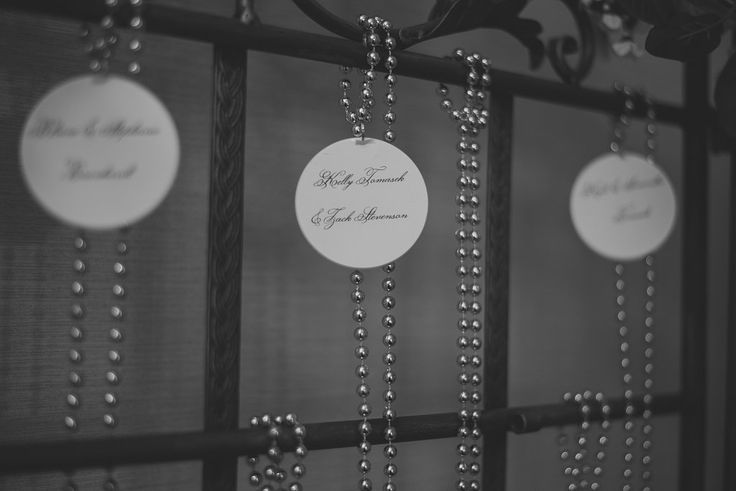 Mardi Gras beads served as 'escort cards'.