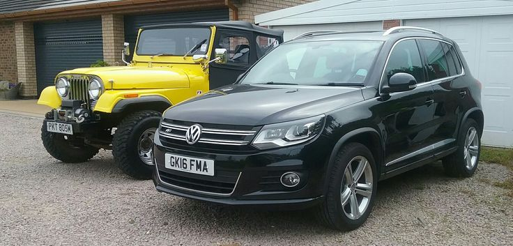 1974 Jeep and 2016 Tiguan 2.0 TDI R Line 4 motion.