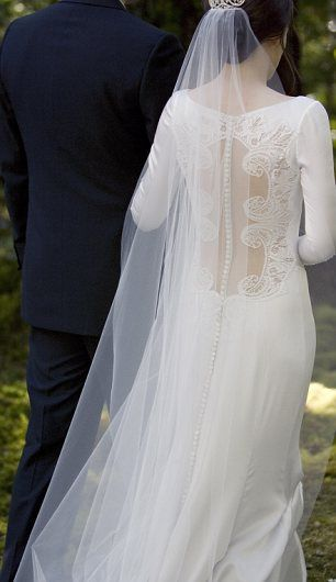 carolina herrera, bella swan wedding dress (back view)