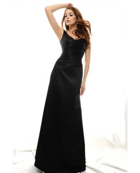 Satin Ruched V-neck Sleeveless Bridesmaid Dress