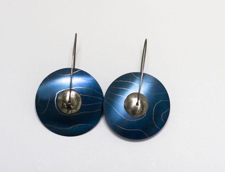 Blue titanium earrings, round circle earrings from Arpelc Blue Titanium Jewelry by DaWanda.com