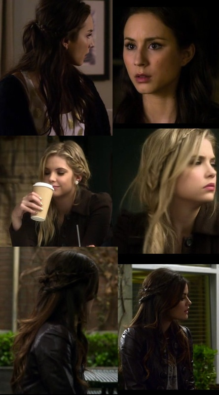 Three styles of braid for three of the main Pretty Little Liars Characters: Spencer Hastings, Hanna Marin and Aria Montgomery. I love Hanna's (of course, the blond one) asymmetrical braids!