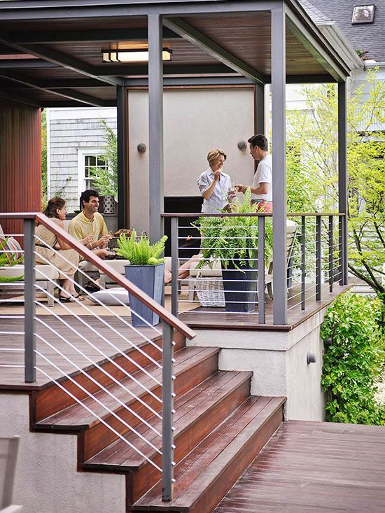 Stylish Deck Ideas - I love this contemporary idea as a front porch area