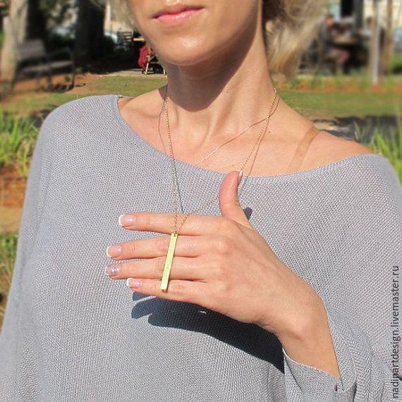 Купить Колье в стиле минимализма с подвеской. Индивидуальная гравировка - золотой, ожерелье, ожерелье с подвеской, колье