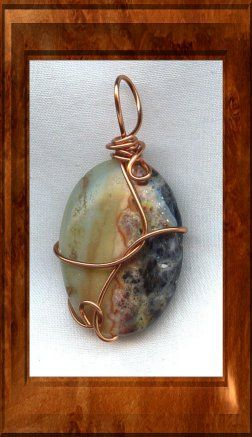 Amazonite Copper Wire Wrapped Pendant
