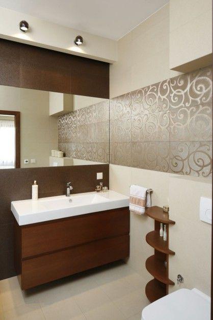 Beżowa łazienka w stylu glamour  - zdjęcie numer 2