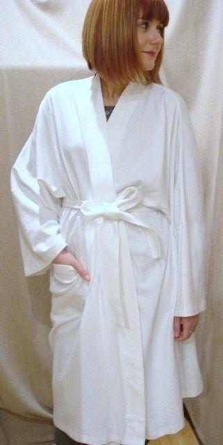 Kimono Style Cotton Robe - White.
