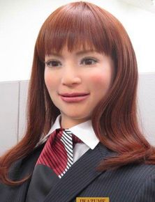 """This hotel in Japan will be run almost entirely by robots. The 10 humanoid robots, or """"actroids,"""" are designed to look and act like young Japanese women. They speak fluent Japanese, Korean, Chinese and English, according to the hotel's release. Robotics company Kokoro manufacturers the 'bots, which mimic human actions like blinking and are programmed to respond to basic human cues, like body language and tone. #science #tech #robot"""