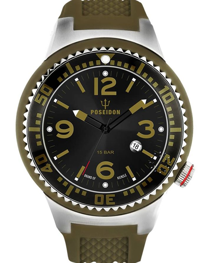 POSEIDON XXL Khaki Silicone Strap Τιμή: 119€ http://www.oroloi.gr/product_info.php?products_id=34113