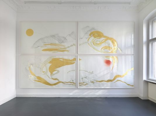 Jorinde Voigt, at Klosterfelde Gallery, Berlin, Goethe, Faust, Prolog im Himmel I-IV, Polyptychon, 2013, series of 4 drawings,   ink, pencil, pastel, gold leaf, silver leaf on paper, each 262 x 152 cm