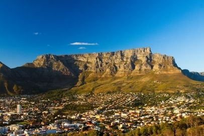 View of Table Mountain with Cape Town, South Africa