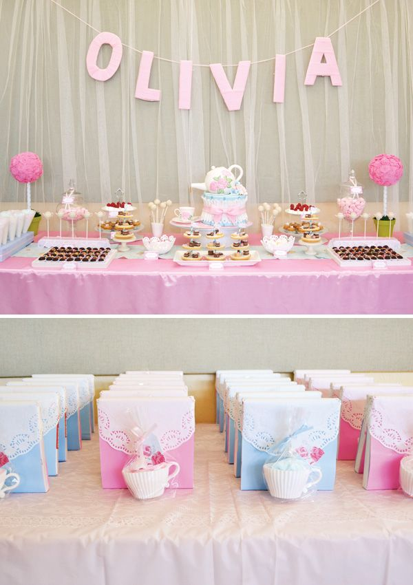 tea party birthday cakes | ... Birthday > Parties for Girls > Adorable Pink & Girly Tea Party