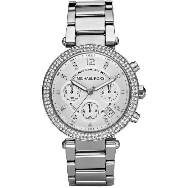 Michael Kors Women's Parker Pavé Stainless Steel Chronograph Bracelet... ($275) ❤ liked on Polyvore featuring jewelry, watches, silver, stainless steel watch bracelet, chronograph bracelet watch, stainless steel jewelry, bracelet watch and michael kors watches