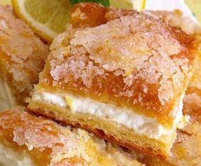 Лимонный торт из слоеного теста с нежным кремом