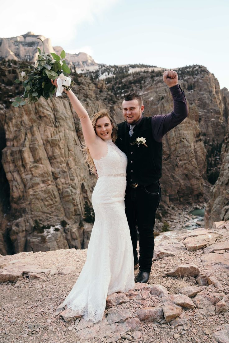 Canyon views for this bride & groom at their winter