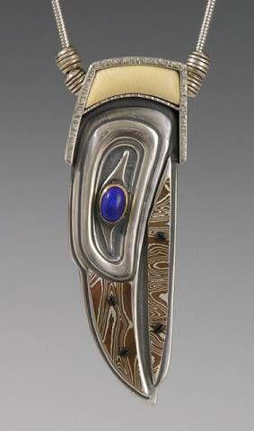 Brooke Stone Jewelry  ||    Silver Raven Spirit w/ Mokume Beak and Inlaid Fossil Mammoth Ivory   $580.00