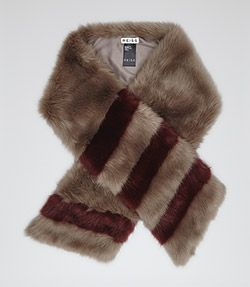 Filipa Burgundy Faux Fur Scarf - REISS