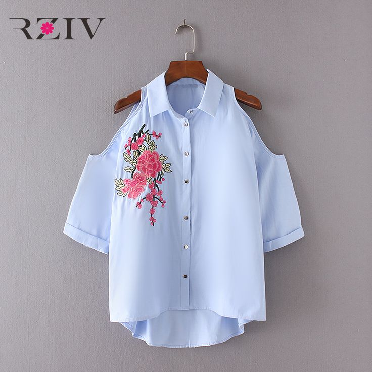 RZIV 2017 female casual pure color flowers embroidered strapless shirt