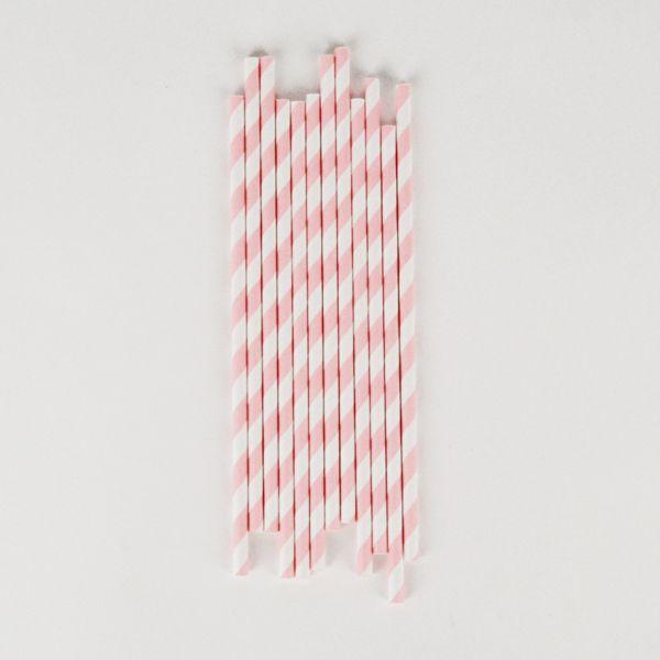 25 pailles à rayures rose clair - 3,50€