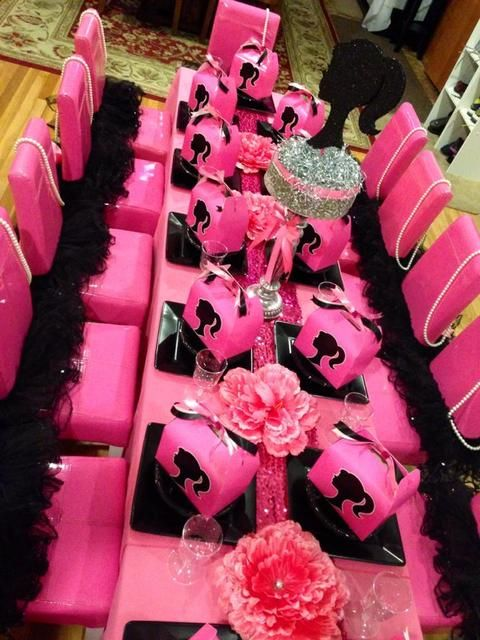 Table at a Barbie Party